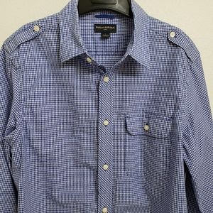 Banana Republic Long Sleeve Blue Check Shirt Large